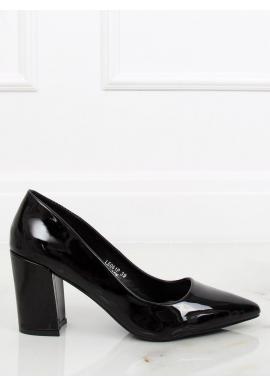 02376eece Lakované dámske lodičky čiernej farby na stabilnom podpätku ...