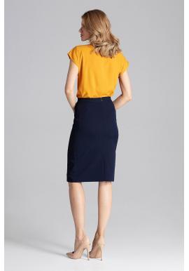 Dámska ceruzková sukňa v horčicovej farbe