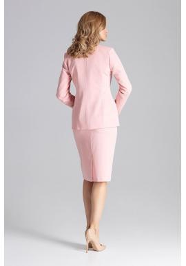 Ružové elegantné sako s dvomi gombíkmi pre dámy