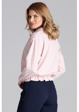 Módna dámska košeľa ružovej farby s viazaním