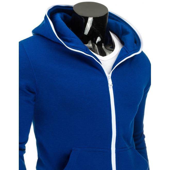 Mikina pre pánov modrej farby s hlbokými vreckami a kontrasnym bielym zipsom