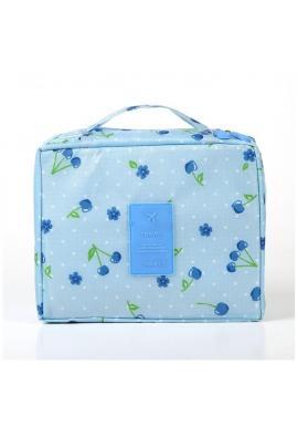 Fialová kozmetická taška s motívom višní