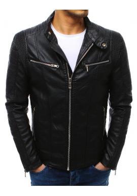 Pánska koženková bunda s prešívanými prvkami v čiernej farbe