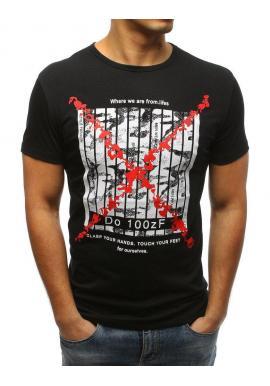 d22168e4384d Pánske štýlové tričko s potlačou v čiernej farbe v zľave - skvelamoda.sk