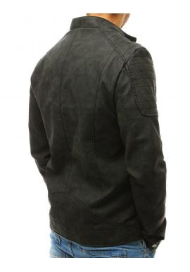 Čierna koženková bunda s prešívanými prvkami pre pánov
