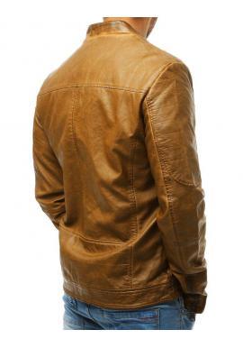 Hnedá prechodná koženka s prešívanými prvkami pre pánov