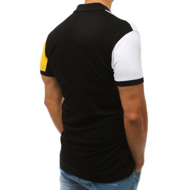 256cb8883e3b Módna pánska polokošeľa čierno-žltej farby s potlačou - skvelamoda.sk