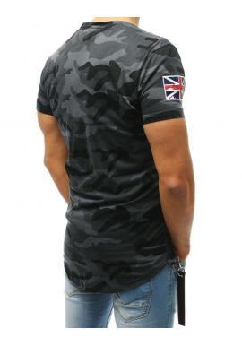 Pánske maskáčové tričko s potlačou v sivej farbe