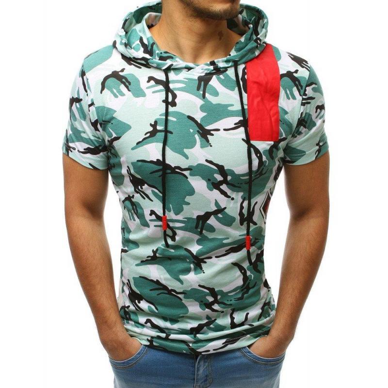 9e459a5daab6 Zelené maskáčové tričko s kapucňou pre pánov - skvelamoda.sk
