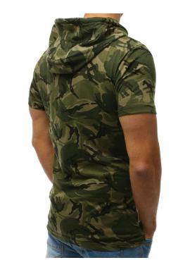 Zelené maskáčové tričko s kapucňou pre pánov