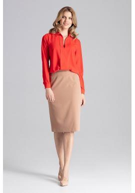 Dámska elegantná košeľa s dlhým rukávom v červenej farbe