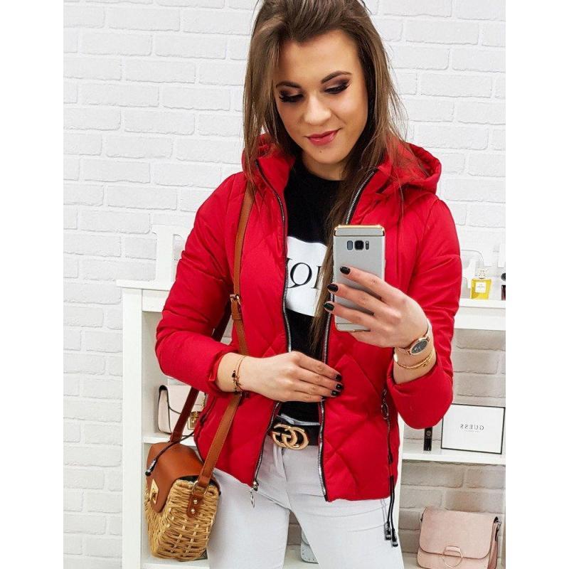9ee175ffb Dámska prešívaná bunda na jar v červenej farbe v akcii - skvelamoda.sk