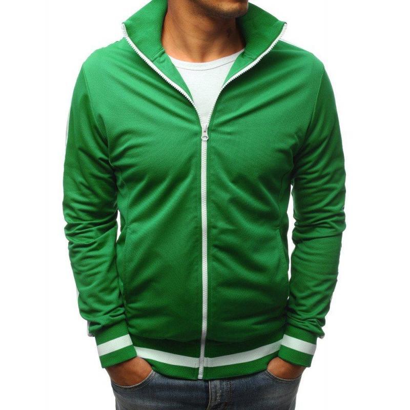 a6e2a0d52f69 Športová pánska mikina zelenej farby na zips - skvelamoda.sk