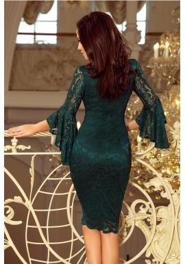 Čipkované dámske šaty bordovej farby s rozšírenými rukávmi