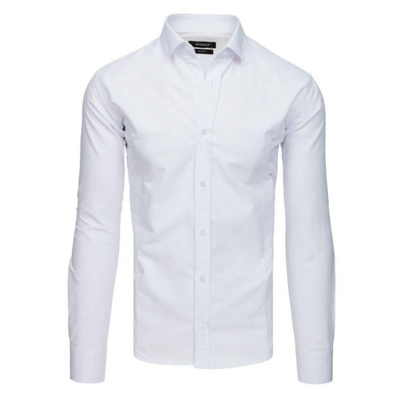 3676e8bebb89 Pánska elegantná košeľa s dlhým rukávom v bielej farbe - skvelamoda.sk