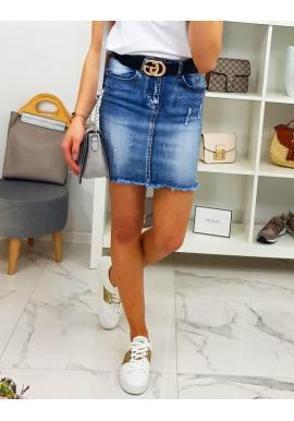 Modrá rifľová sukňa s prekladaným pásom pre dámy
