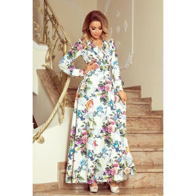 5a6c78182d7b Biele dlhé šaty s farebnými kvetmi pre dámy - skvelamoda.sk