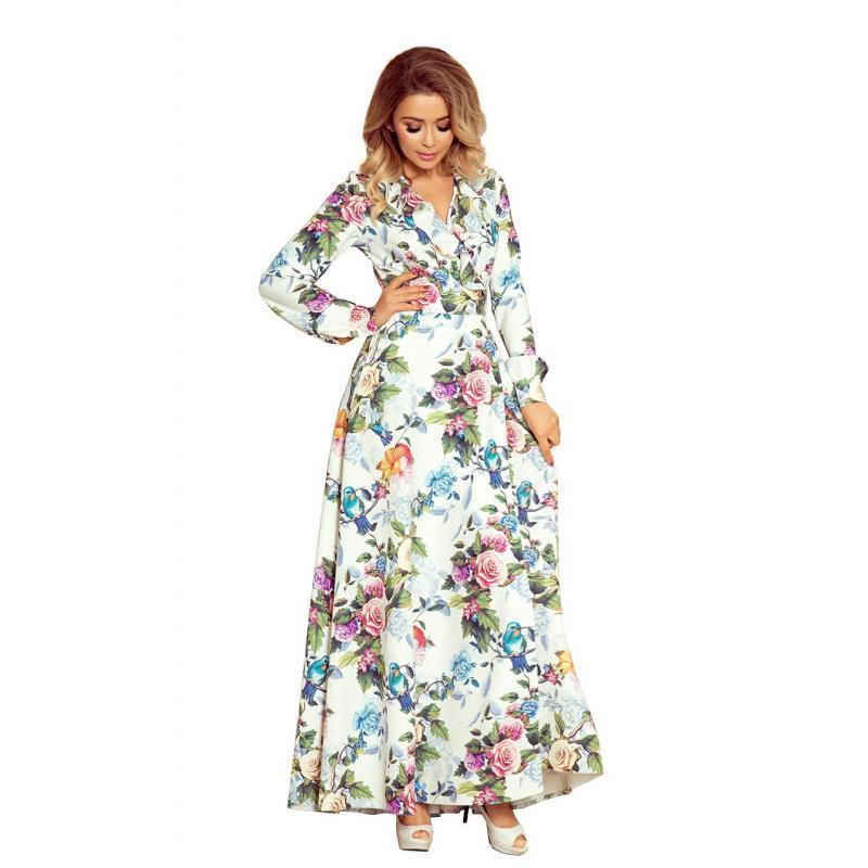 6516e52bf8a4 Biele dlhé šaty s farebnými kvetmi pre dámy. Dámske dlhé šaty s viazaním v  modro-bielej farbe