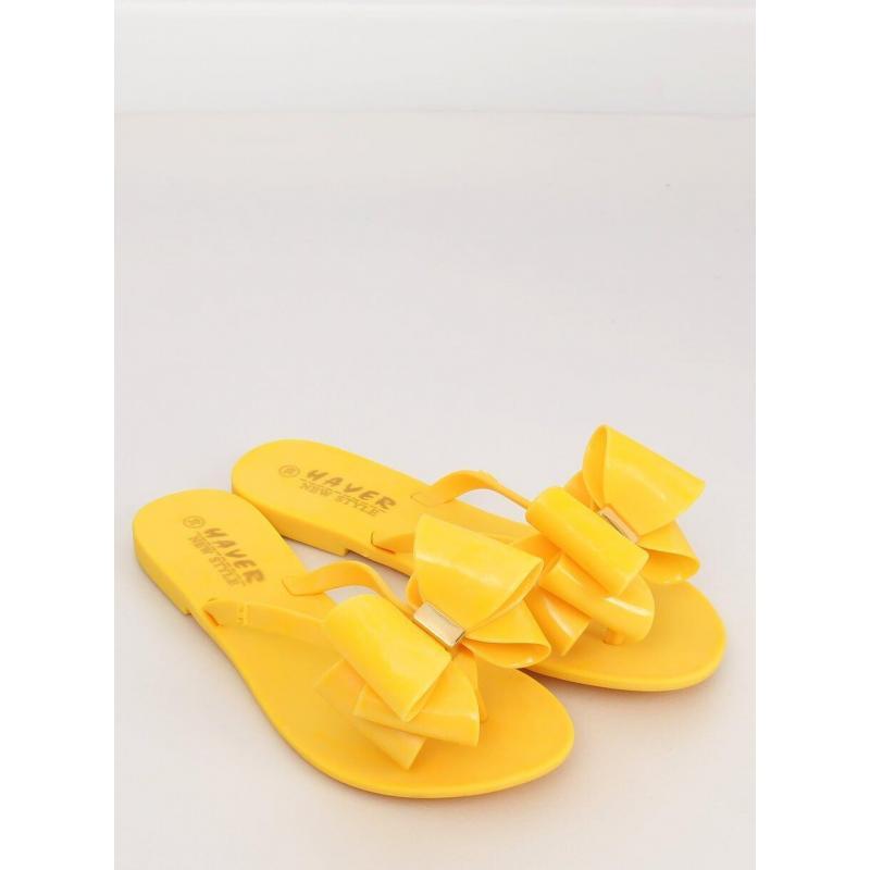 c0da719aa8 Gumené dámske žabky žltej farby s mašľou - skvelamoda.sk