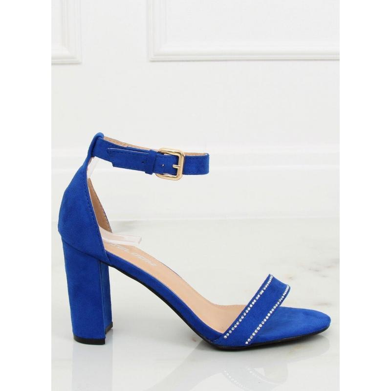 5e35c30bf598e Modré semišové sandále na podpätku pre dámy - skvelamoda.sk