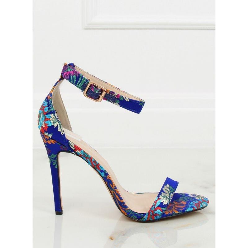 67bfefe99 Orientálne dámske sandále modrej farby na podpätku s výšivkou ...