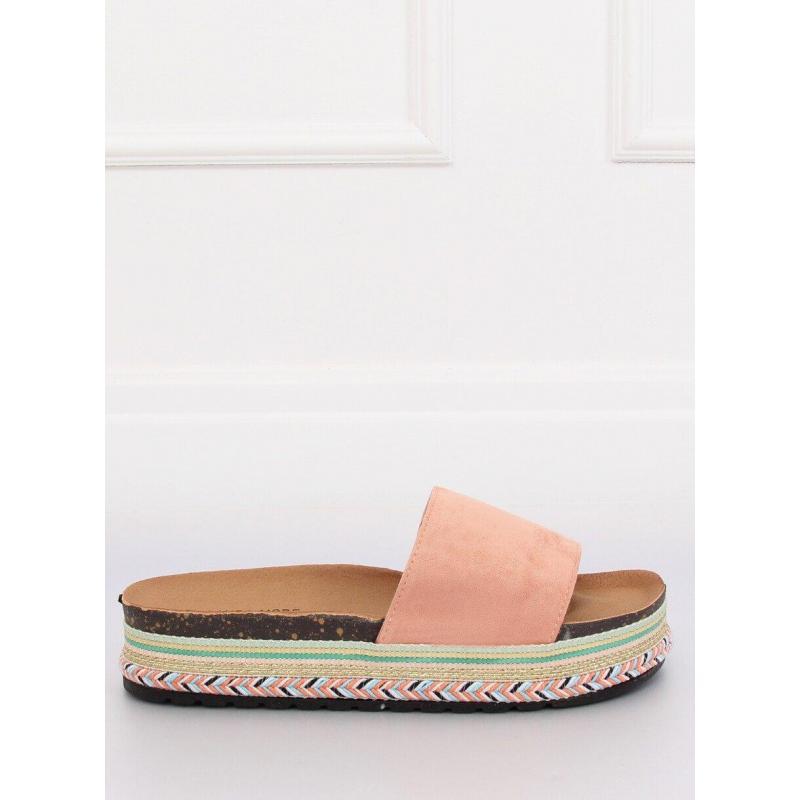 32ee02b118c4 Ružové semišové šľapky na zdobenej podrážke pre dámy - skvelamoda.sk