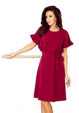 Elegantné dámske šaty pastelovo ružovej farby s asymetrickým volánom