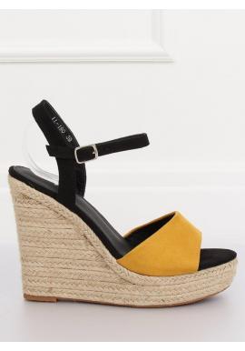 5cbf6a5c2 Semišové dámske sandále čiernej farby na ľanovej platforme ...