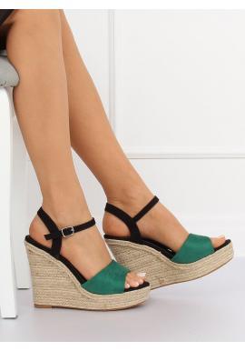 8bc30220a ... Semišové dámske sandále čiernej farby na ľanovej platforme
