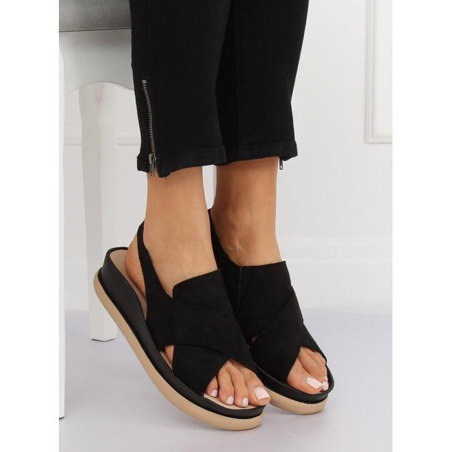 39410665bb91 ... Dámske semišové sandále na platforme v tmavomodrej farbe ...