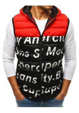 Červená prešívaná vesta s potlačou pre pánov