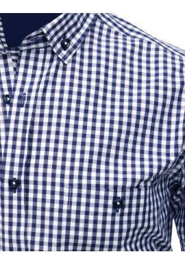 3b89ab779fba ... Pánska kockovaná košeľa s krátkym rukávom v modro-bielej farbe