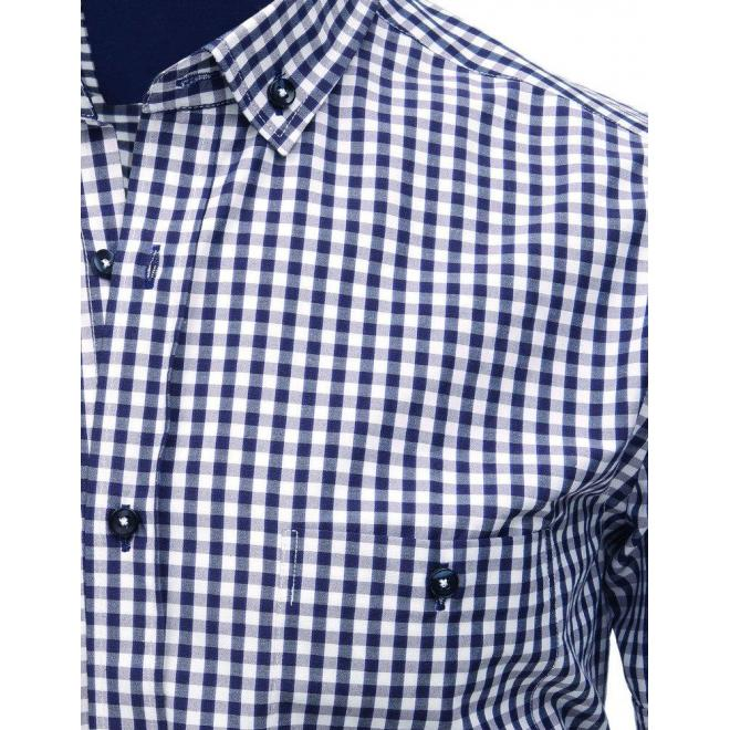 076ab8b10272 Pánska kockovaná košeľa s krátkym rukávom v modro-bielej farbe ...