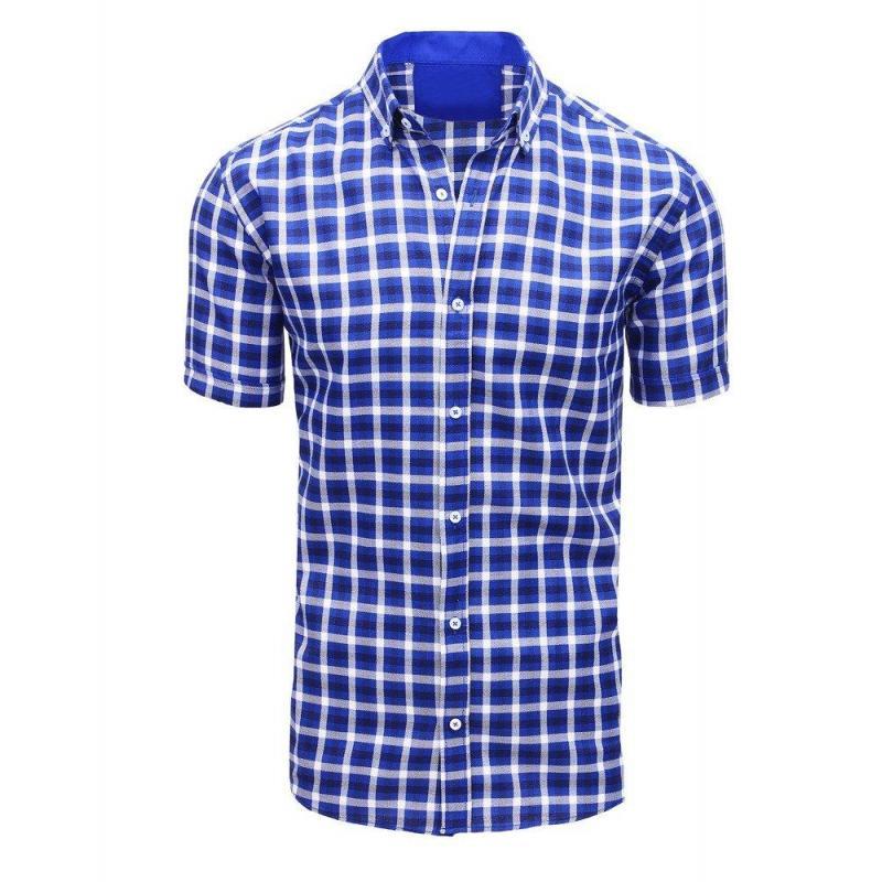 e95287b58d Modrá kockovaná košeľa s krátkym rukávom pre pánov - skvelamoda.sk