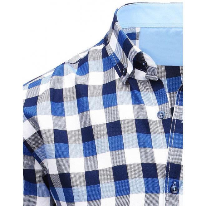 1eca8add6fe4 Pánska kockovaná košeľa s krátkym rukávom v modro-bielej farbe ...