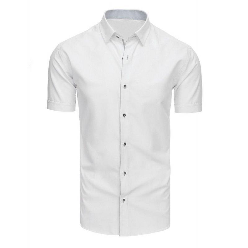6ac0076685f3 Pánska elegantná košeľa s krátkym rukávom v bielej farbe - skvelamoda.sk