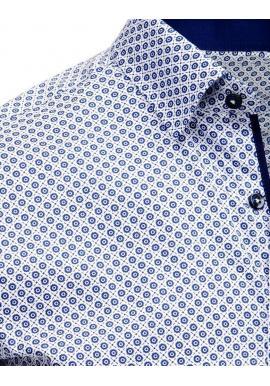 29bdbe3e8059 ... Pánska vzorovaná košeľa s krátkym rukávom v bielej farbe