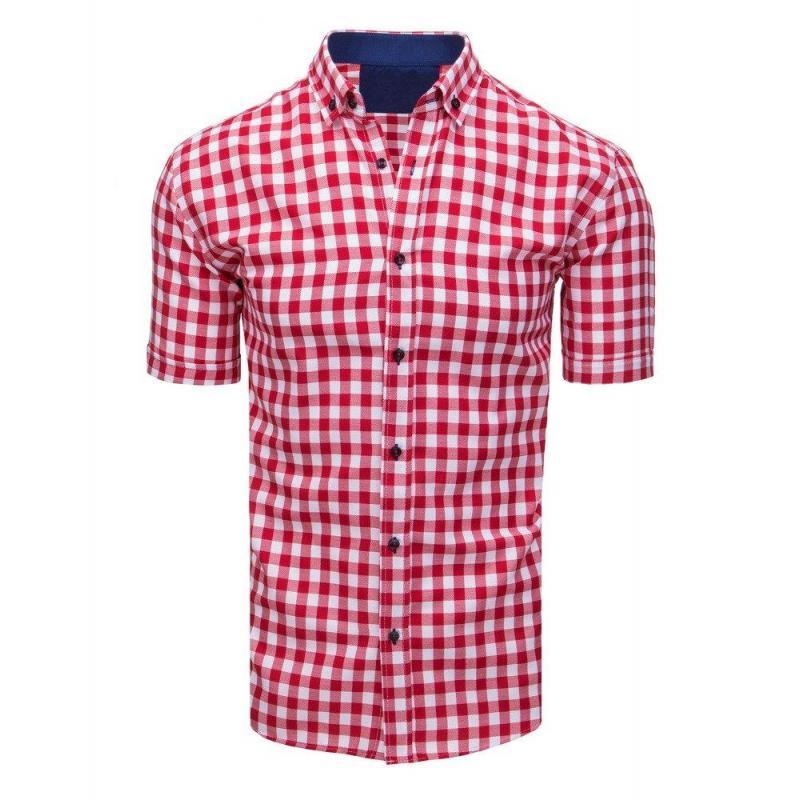 2a61cec1d060 Pánska kockovaná košeľa s krátkym rukávom v červeno-bielej farbe ...