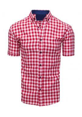 Pánska kockovaná košeľa s krátkym rukávom v modro-bielej farbe
