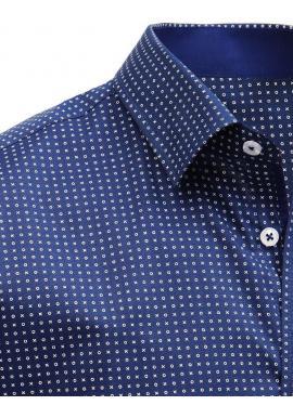 540a7d9624bc ... Biela vzorovaná košeľa s krátkym rukávom pre pánov
