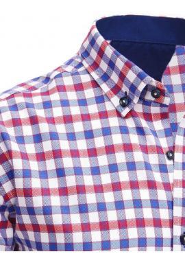 Pánska kockovaná košeľa s krátkym rukávom v červeno-bielej farbe