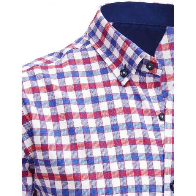 e4b623079375 Pánska kockovaná košeľa s krátkym rukávom v modro-červenej farbe ...