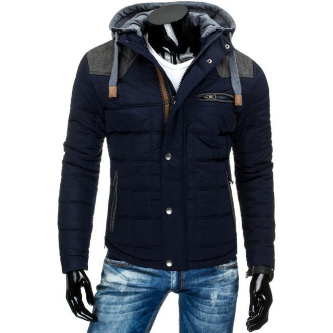 Zimná bunda pre pánov v dlhšom strihu zelenej farby