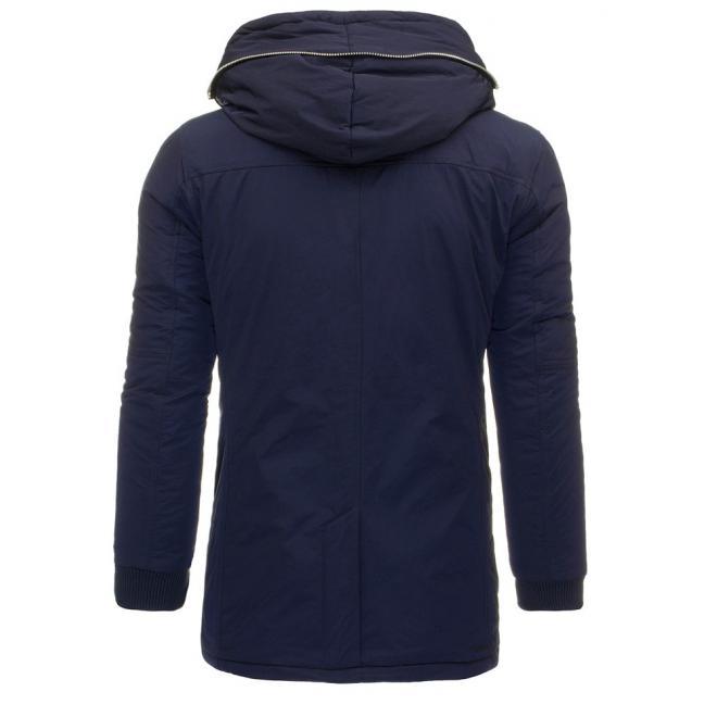 Zimná dlhšia bunda tmavomodrej farby pre pánov