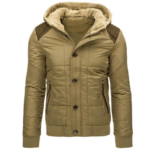 Zimná prešívaná bunda pre pánov tmavomodrej farby