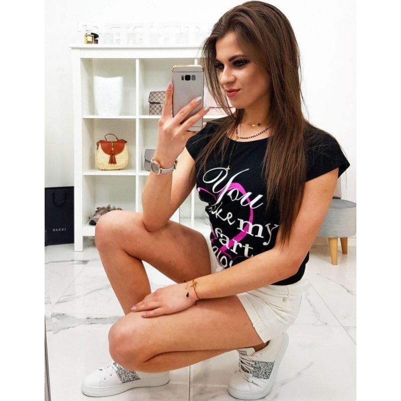 4961809b8bc7 Čierne bavlnené tričko s potlačou pre dámy - skvelamoda.sk