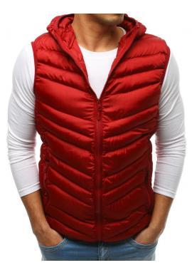 Bordová prešívaná vesta s kapucňou pre pánov