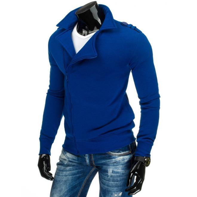 Pánska mikina bez kapucne vo výraznej modrej farbe