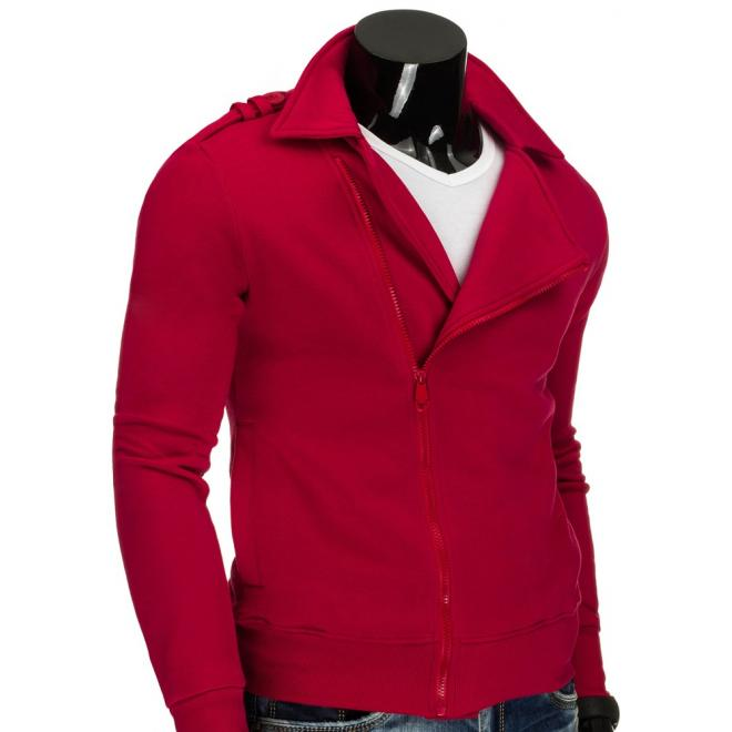 Červená pánska mikina bez kapucne