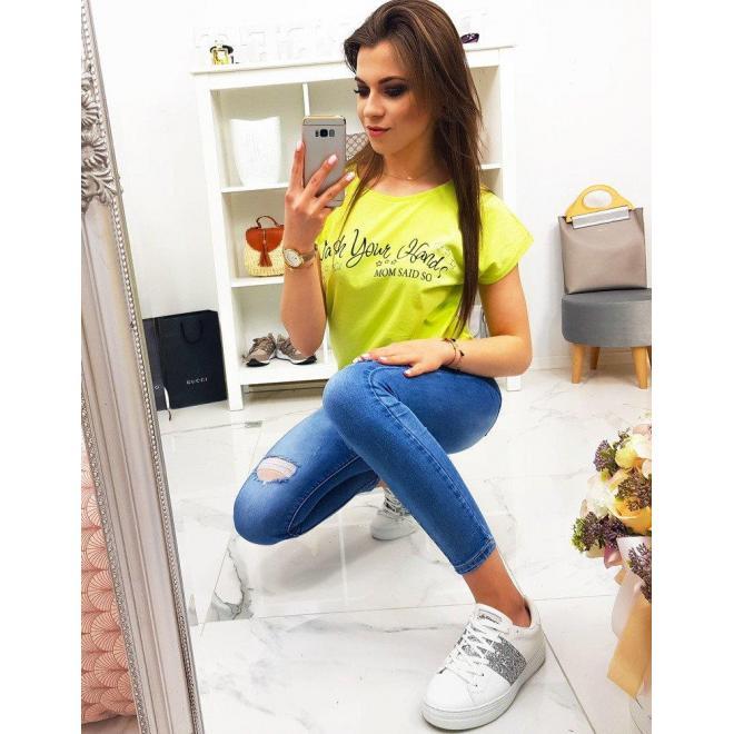 e67313898 Limetkové módne tričko s potlačou pre dámy - skvelamoda.sk